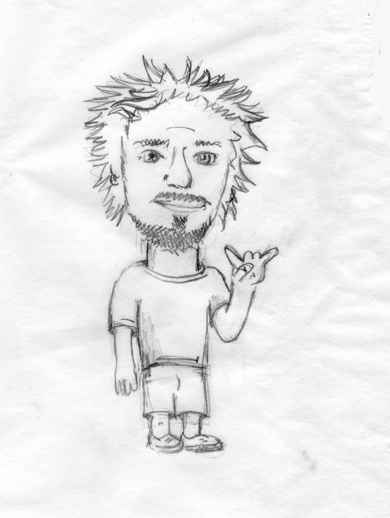 Caricature of Gareth Townsend, drawn by Nick Russo (http://dadsoldaxe.com/)